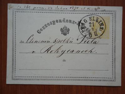 Korespondenční lístky  z let 1871 ,1872 a 1879..velikost 8,8 x 12,3 cm