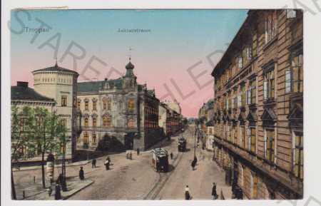 Opava (Troppau) - Jaktarstrasse, tramvaj, svítící