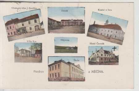 Měčín, obchodní dům, zámek, kostel, hotel, vila, š