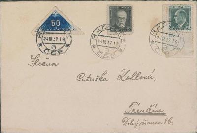 10B2510 Dopis Radzovce - Trenčín, známka s deskovým č. a doruční zn.