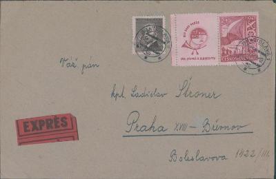 10B2522 Expres dopis Praha, kpt. Štroner, známka s okrajem