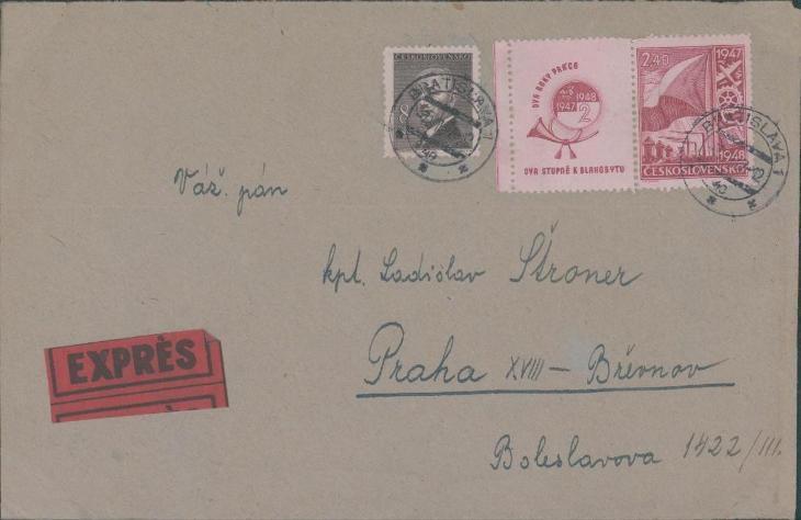 10B2522 Expres dopis Praha, kpt. Štroner, známka s okrajem - Filatelie
