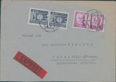 10B2531 Expres dopis na kpt. Štroner, Praha