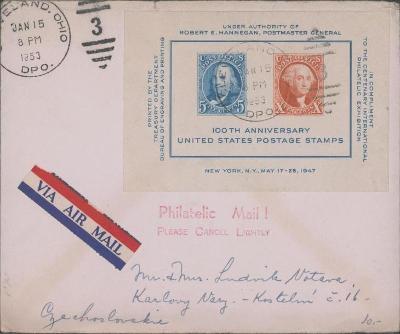 20B170 USA- Cleveland, Ohio  / Karlovy Vary- použit aršík - RR!