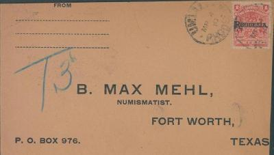 20B204 RHODESIA, Britisch Africa/ Max Wehl - NUM. Com. Fort Wort TEXAS