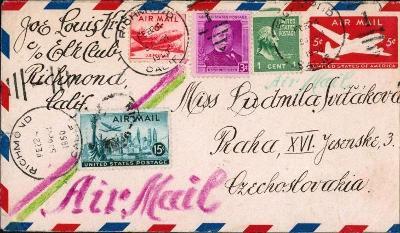 20B209 USA dofrankovaná celina RICHMOND- Praha, Ludmila Svitáčková
