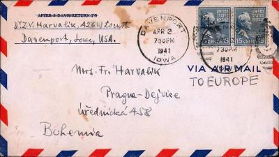 20B223 USA - dopis Davenport/ Praha- Dejvice