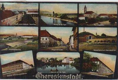 Terezín, pošta, partie, náměstí, kasárny, více záb