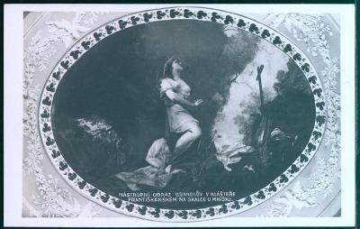 25A353 Obraz v františk. klášteře Skalka u Mníšku, razítko restaurace