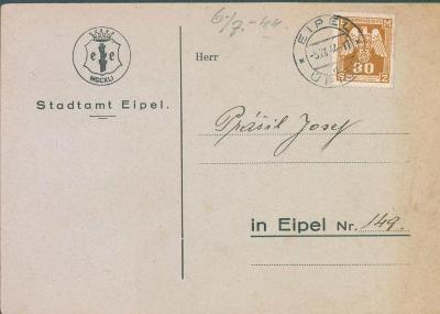 12B11 Lístek městského úřadu Úpice, dvojjazyčný text