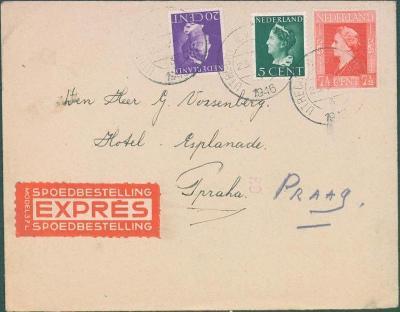 17B199 Expres dopis Holandsko do Prahy, dekorativní