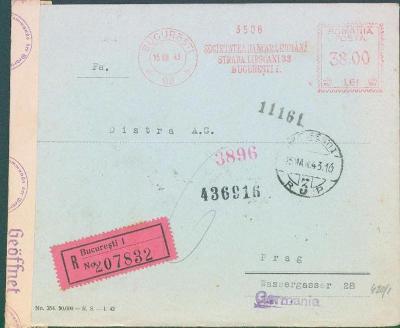 17B236 R dopis rumunský frankotyp z Bukurešti do Prahy, něm. cenzura
