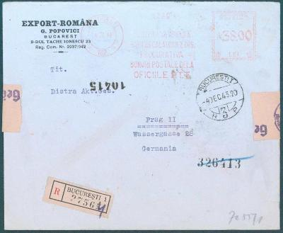 17B237 R dopis rumunský frankotyp z Bukurešti do Prahy, něm. cenzura