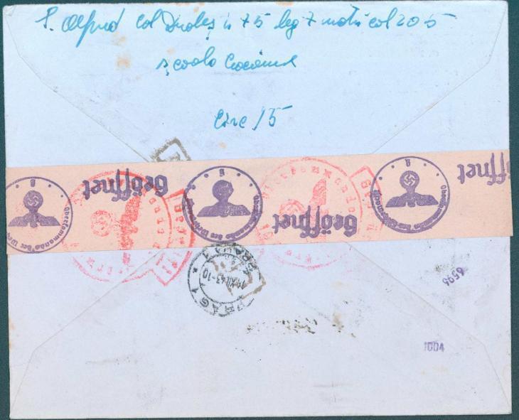 17B237 R dopis rumunský frankotyp z Bukurešti do Prahy, něm. cenzura - Filatelie
