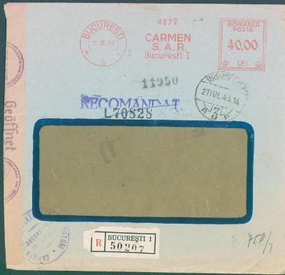 17B238 R dopis rumunský frankotyp z Bukurešti do Prahy, něm. cenzura