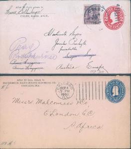 20B27 2 celinové dopisy Colby - Praha, Chicago - London