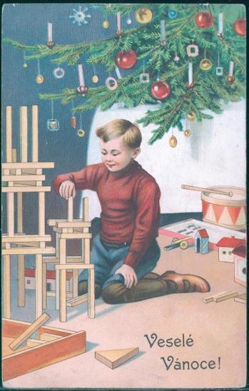 25A320 Pohlednice- Dárek pod stromečkem - Veselé vánoce