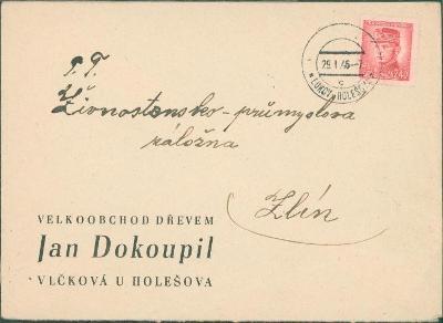 10B3341 Firemní obálka Dokoupil  Lukov u Holešova - Zlín, provizorium