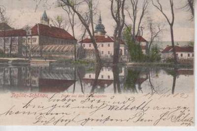 Teplice (Teplitz), zámek zahrada, v pozadí věž kos