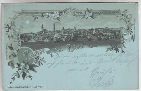Uherský Brod, celkový pohled, DA, litografie