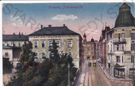 Opava(Troppau), část města, tramvaje, kolorovaná
