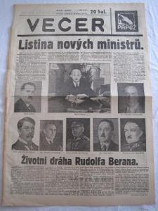 20/noviny 1938-nový ministři prezidenta Dr. Háchy!!!