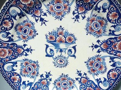 Starý kameninový talíř GIEN Francie značka z rok 1875 top stav !