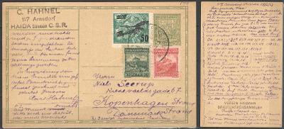 ČSR I. - CDV 37 - dofr. m.j. zn. L4 - zaslaná dne 15.3.1928 do Dánska