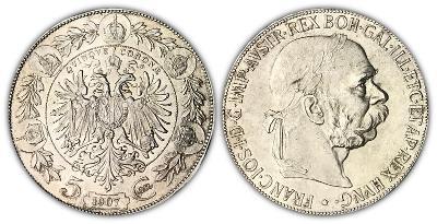 František Josef I., 5 Koruna 1907 - Luxusní stav a vzácná!