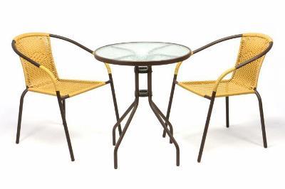 Zahradní balkonový set 2 židle + skleněný st 35215