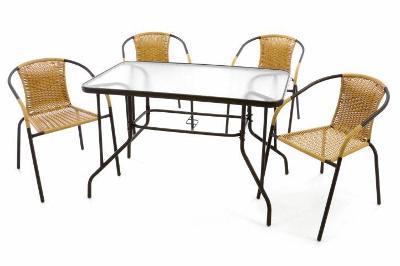 Zahradní set polyratanové 4 židle a skleněný 37024