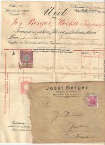 Velmi stará reklamní faktura továrna na cikorii Berger Horky cca 1900
