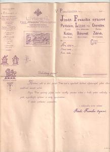 Velmi stará reklamní faktura dvoudílná Franck Pardubice cca 1900