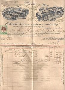 Velmi stará reklamní faktura továrna na cikorii Kolín cca 1900
