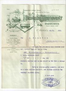 Velmi stará reklamní faktura povoznictví Pardubice cca 1900