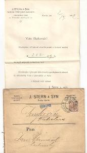 Velmi starý firemní dopis továrna na likéry Stern Karlín cca 1900