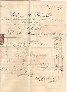 Velmi starý firemní dopis továrna na likéry Třebechovice cca 1900