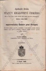 Apologie druhá stavův království Českého 1862