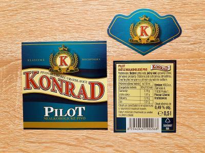 Pivní etiketa pivo KONRAD Pilot nealko Liberec Vratislavice - PE Česko