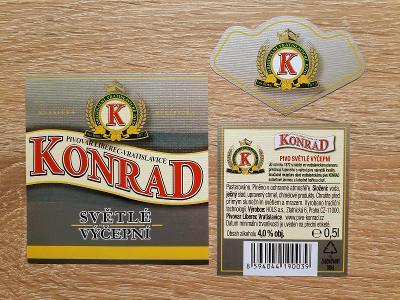 Pivní etiketa pivo KONRAD Světlé Liberec Vratislavice - PE Česko