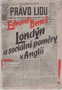 Londýn a sociální poměry v Anglii Edvard Beneš