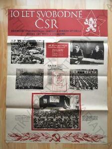 10 let svobodné ČSR, 10 plakátů 1955 73x54cm Orbis