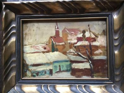 Macoun Gustav - Městečko v zimě,ol/kart.