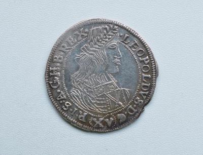 LEOPOLD I - XV KREJCAR VÍDEŇ 1660 PŘEDELÁNO 59 !!! SUPER A VZÁCNÝ XV-4