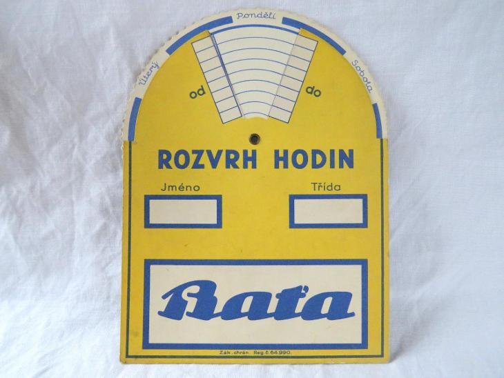 Starý ROZVRH HODIN + NÁSOBILKA + CENTIMETR + ÚHLOMĚR - BAŤA. - Antikvariát