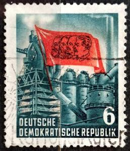 DDR: MiNr.344 Industry and Red Flag 6pf 1953