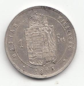 """Fr.J.I.,1 zlatník 1871 KB, """"R"""" vzácny ročník, super stav TOP, od 1 Kč"""