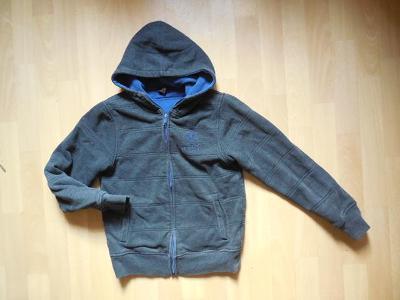 chlapecká H&M šedá  mikina, zateplená, zip,kapuce 158-164