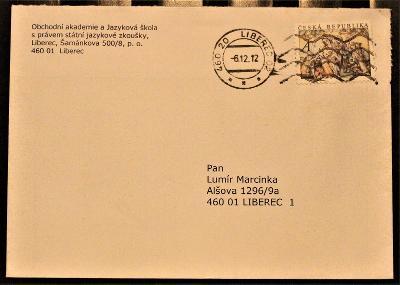 ČR  - poštovní obálka - pošta Liberec