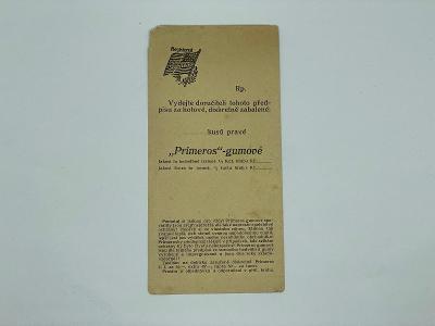 Účtenka reklama PRIMEROS gumové
